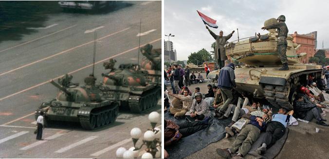 Tiananmen Square, 1989 (left); Tahrir Square, 2011 (right)