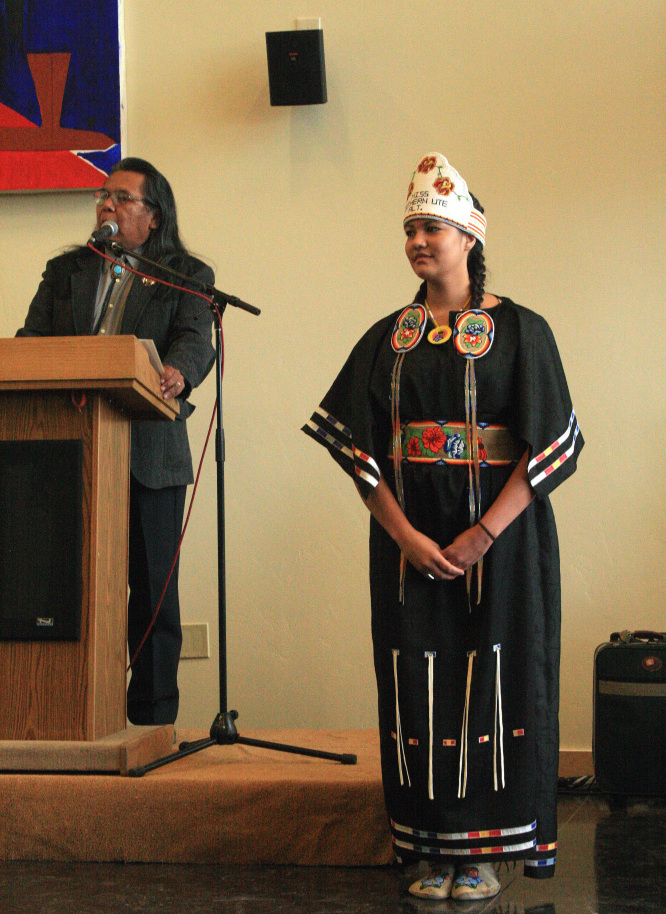 Miss Southern Ute first alternate Sage Rodhe gets recognized at the museum's late-May opening.