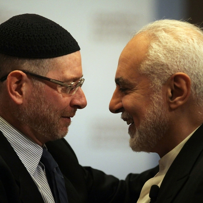 Imam Feisal Abdul Rauf (right), greets a Jewish colleague before speaking at the Council on Foreign Relations in September, 2010.