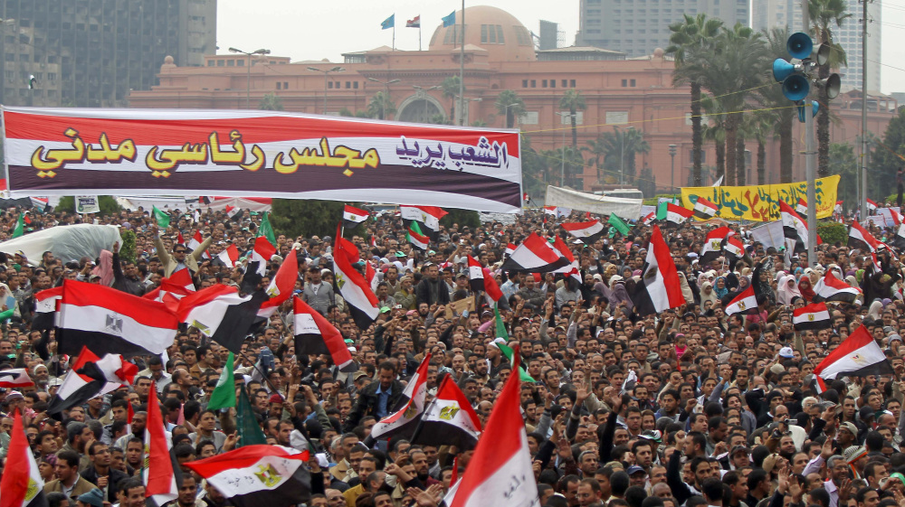 Tens of thousands of Egyptians take part in a rally in Cairo's landmark Tahrir Square on November 18, 2011 with the aim of pushing Egypt's ruling military to cede power.