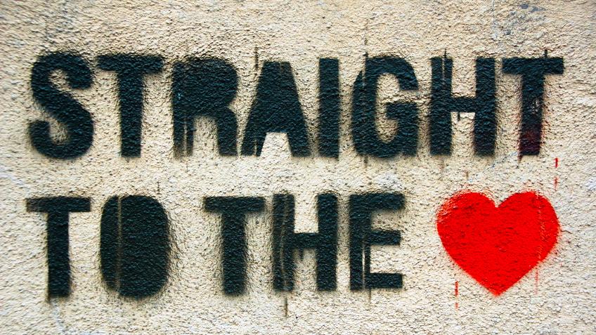 """Straight to the heart"" graffiti."