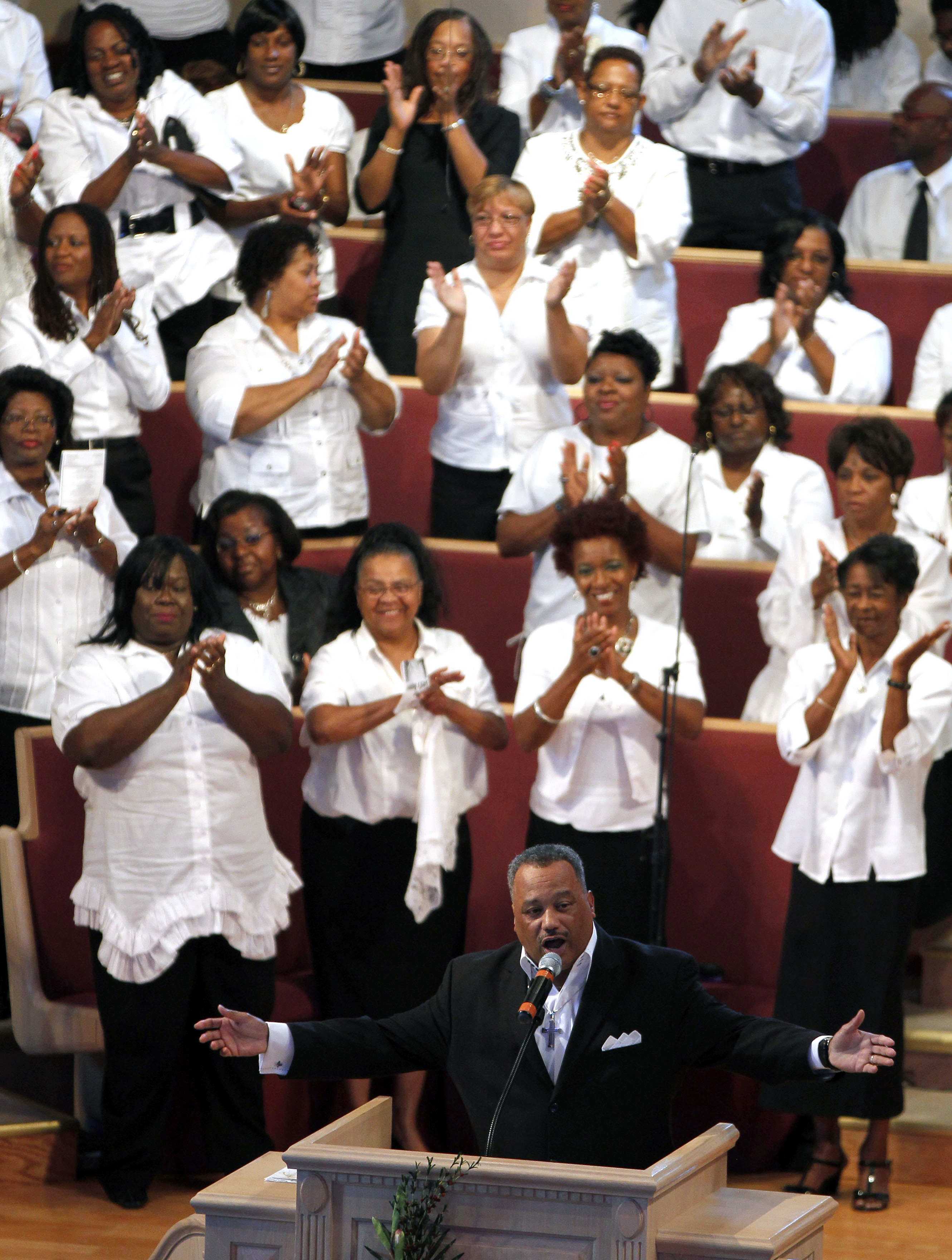 The Rev. Fred Luter is running unopposed for the presidency of the Southern Baptist Convention. Here, he delivers a sermon during Sunday services at Franklin Avenue Baptist Church in New Orleans.