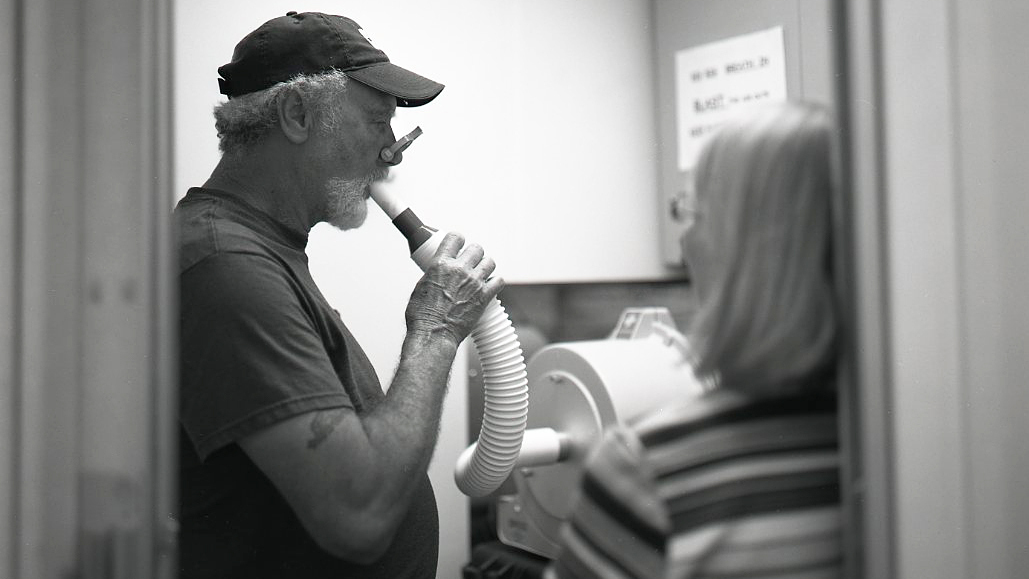 Coal miners are tested for black lung at a clinic in West Virginia.