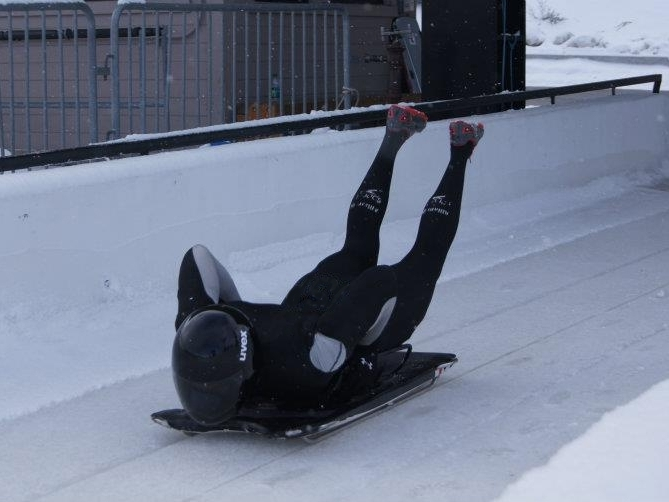 Seun Adebiyi on the skeleton track