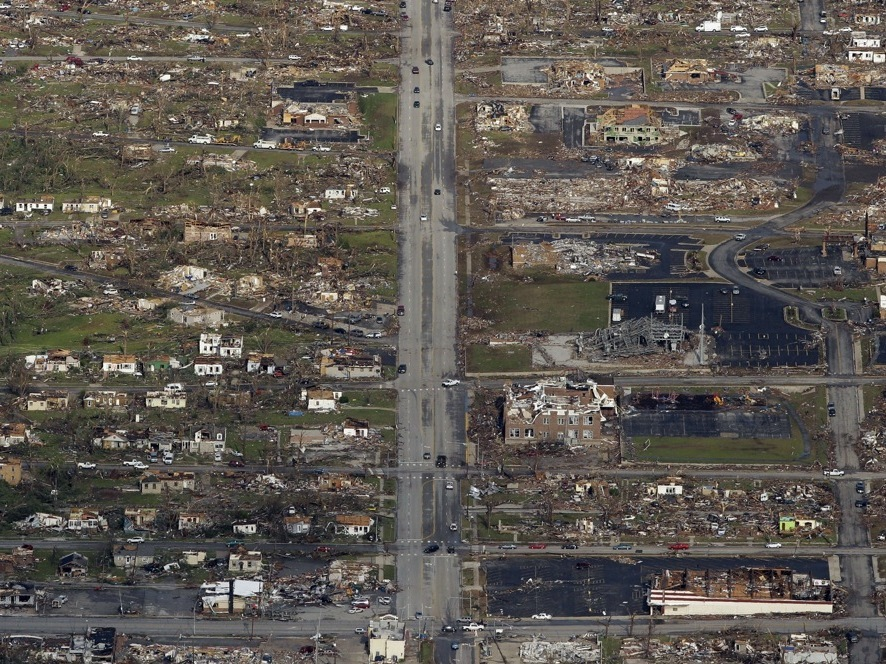 The path of a powerful tornado is seen in an aerial photo over Joplin on May 24, 2011.