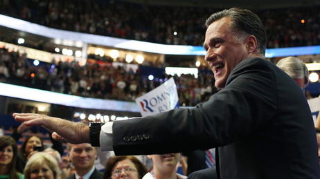 Republican presidential nominee Mitt Romney on Thursday at the Republican National Convention in Tampa.