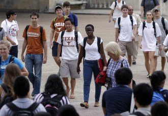 Students walk through the University of Texas at Austin campus. A case before the U.S. Supreme Court challenges the school's consideration of race in its admissions.