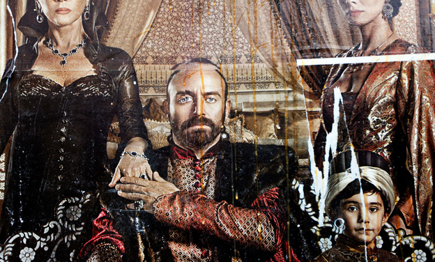 Eggs streak down a billboard advertising the popular Turkish soap opera The Magnificent Century. The show focuses on palace intrigue during the 16th-century rule of Suleiman the Magnificent. Some Islamists have protested the show's depiction of the sultan's harem.
