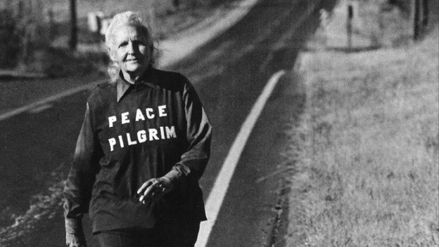 Peace Pilgrim near Topeka, Kan., in the late 1970s. She had walked 25,000 miles by 1964, and continued for almost two more decades. She carried only a pen, a comb, a toothbrush and a map.