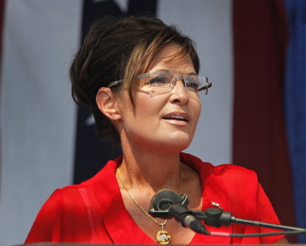 "Sarah Palin, former governor of Alaska and 2008 Republican vice presidential candidate speaks at a ""Patriots in the Park"" Tea Party rally at the Wayne County, Mich., fairgrounds in July."