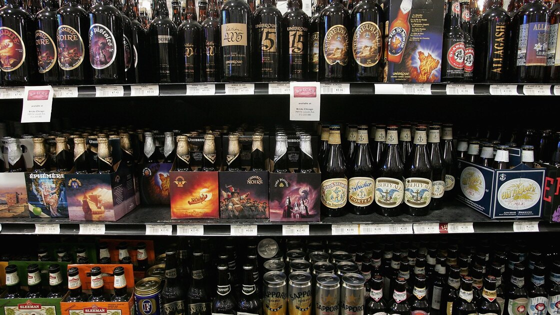 Craft beers are offered for sale at Sam's Wines and Spirits in Chicago. Craft beer has about a 6 percent market share in the U.S. beer market, which is dominated by Anheuser-Busch InBev and MillerCoors.