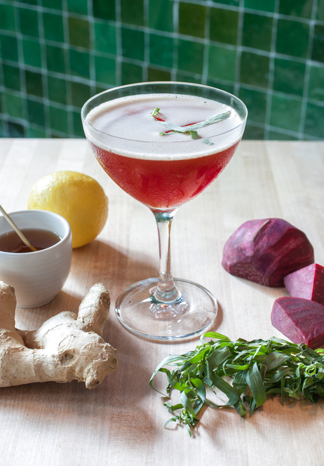 "The ""Beet Me in St. Louis"" cocktail uses two infusions: €"" beet-infused gin and tarragon-infused honey."