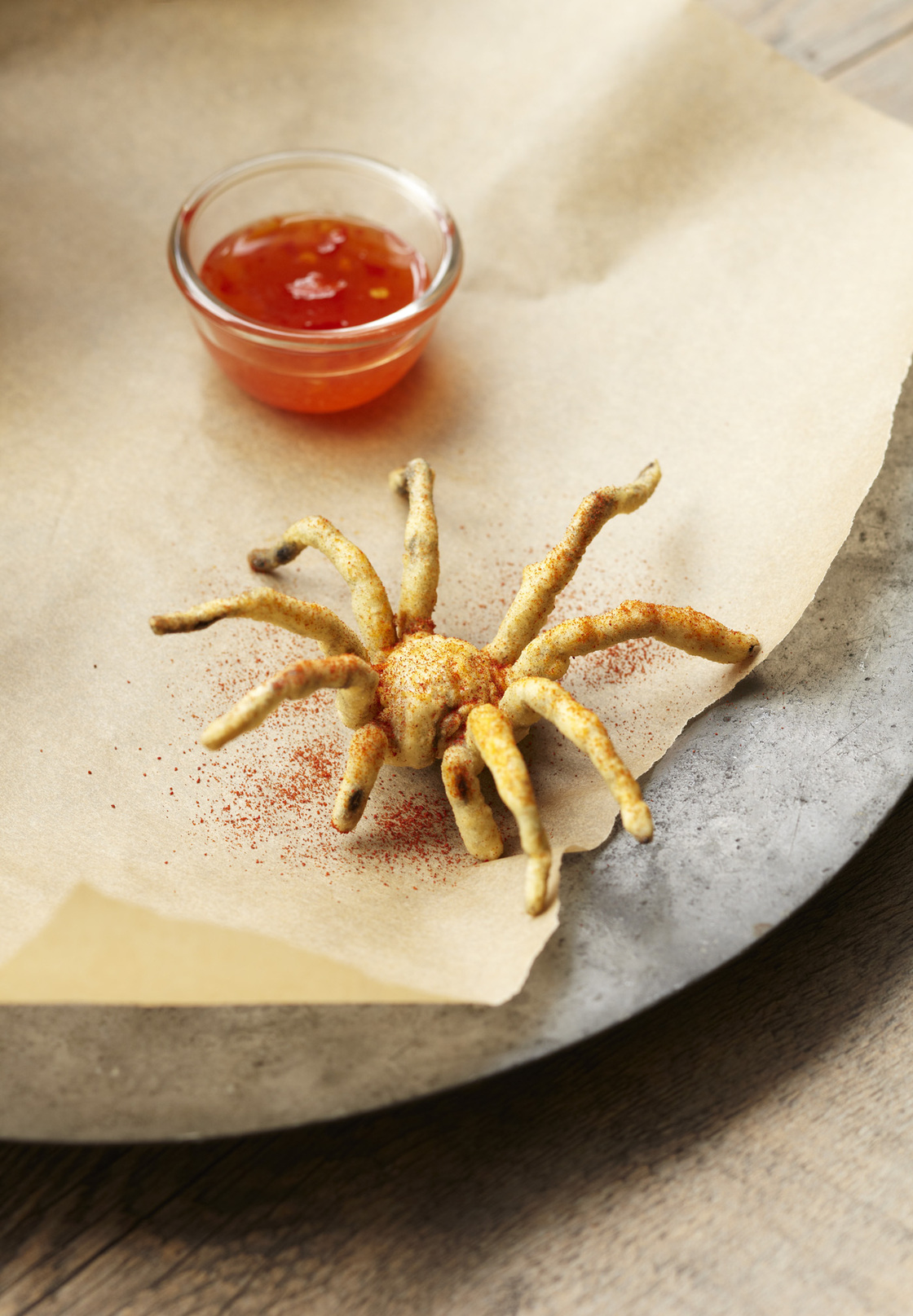 Gordon recommends dusting the deep-fried tarantula spider with smoked paprika.