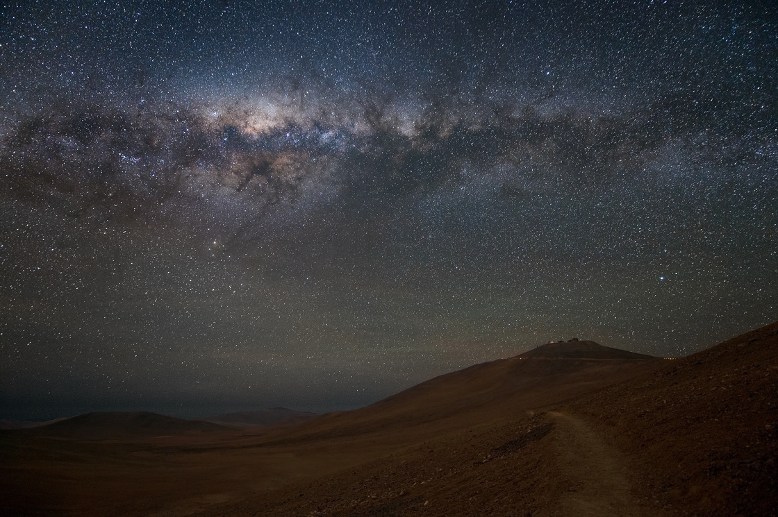 The Milky Way dominates the sky over Chile's Atacama Desert, home to the European Southern Observatory.