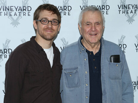 Greg Pierce and John Kander, on the carpet at a cast photo session for The Landing in September, are 51 years apart in age, but the two report working smoothly together.