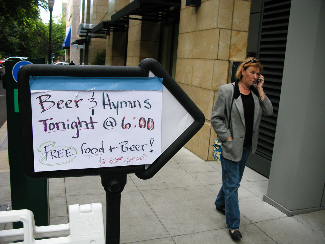In downtown Portland, Ore., the First Christian Church opens its parish hall for an event called Beer & Hymns one Saturday night a month.