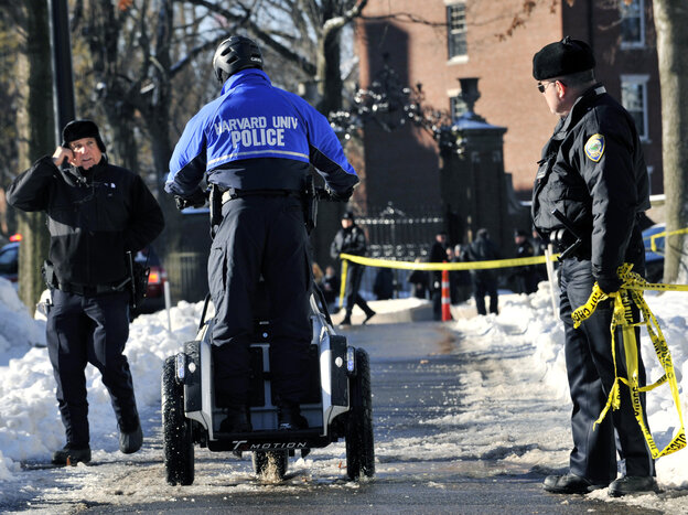 University police, FBI agents and Cambridge, Mass., officers all responded on Monday when Harvard received messages claiming that bombs had been planted in four buildings. None were found and a student has been charged in the hoax. he allegedly wanted to avoid taking a test.