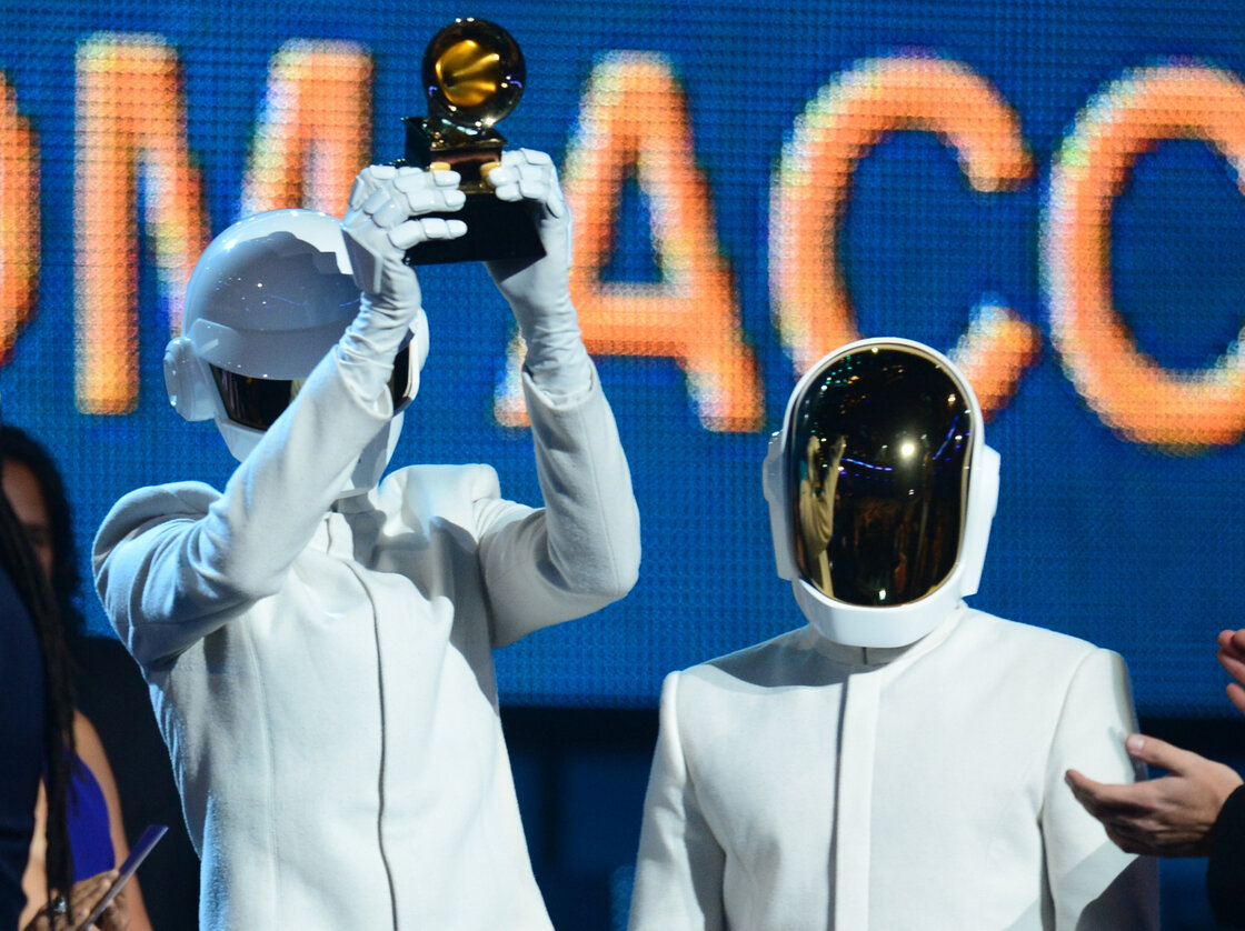 "Daft Punk won the Grammy for Album of the Year for Random Access Memories and for Record of the Year for ""Get Lucky."""
