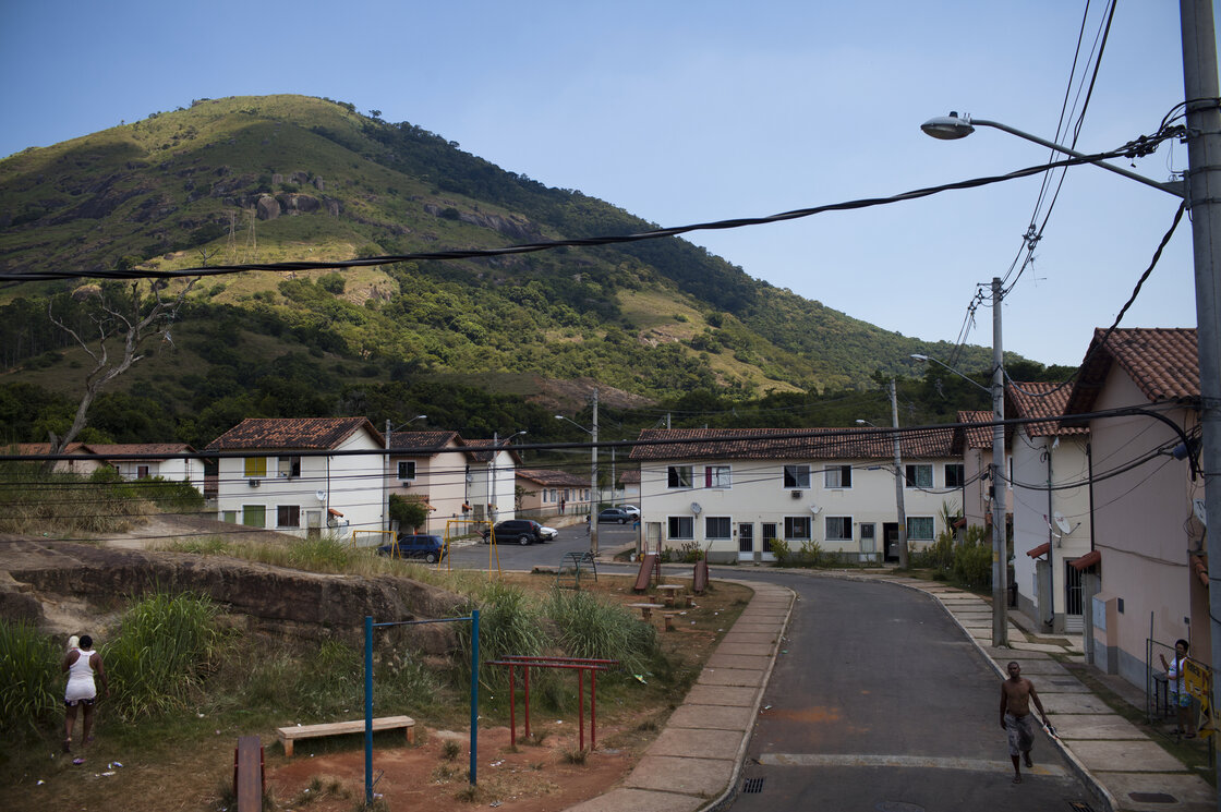 The Terni apartment complex in Rio de Janeiro's far west zone of Campo Grande. Many residents were relocated to this area because their old neighborhoods were knocked down to make way for building projects related to the Olympics.