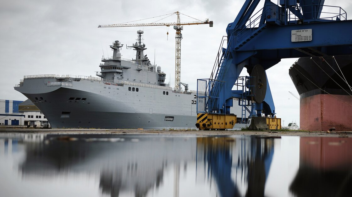The Vladivostok warship, a Mistral class LHD amphibious vessel ordered by Russia to the STX France shipyard in Saint-Nazaire, France on Friday. The Vladivostok warship is one of two navy ships ordered to France by the Russian army.