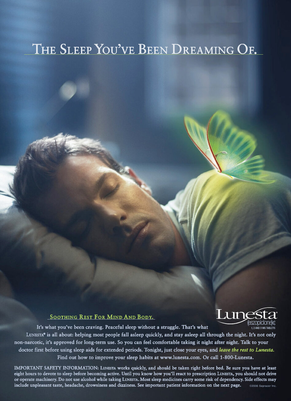 This 2007 ad for the sleeping pill Lunesta stresses insomnia relief — not the relative usefulness of the drug.