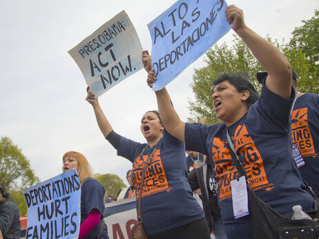 Immigration advocates from Fort Lauderdale, Florida demonstrate outside the White House in April 2014.