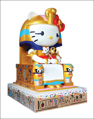 Simone Legno's 2014 sculpture Kittypatra is on display at the Hello Kitty exhibit at the Japanese American National Museum in Los Angeles. (NPR)