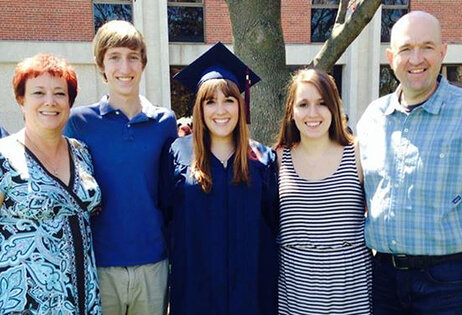 Maddy Berner with her family at her graduation from Syracuse University this past May. Berner moved back in with her parents in Arlington, Va., and is currently interning in Washington, D.C.
