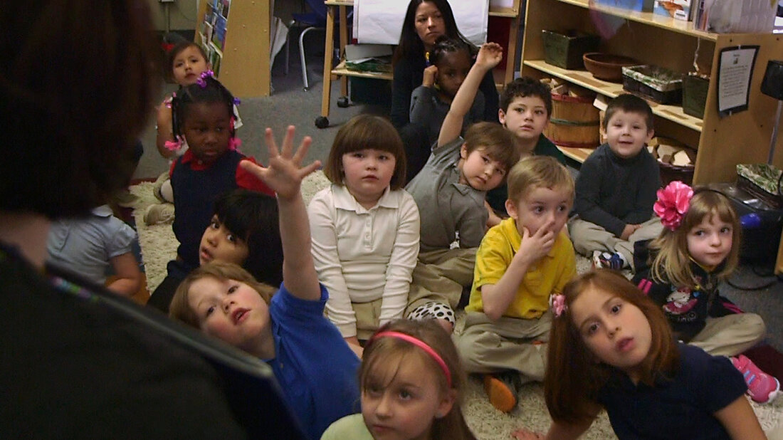 Nikki Jones' preschool class at Porter Early Childhood Development Center in Tulsa, Okla.