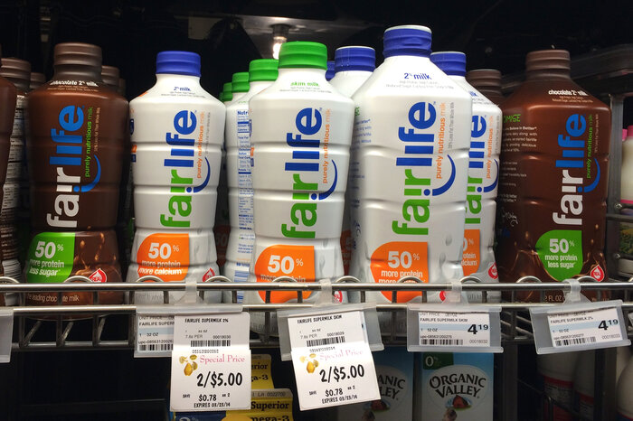 Fairlife milk, shown here on sale in Minneapolis, Minn., in April 2014, is a partnership between Coca-Cola and Select Milk Producers, a dairy cooperative that owns Fair Oaks Farms.