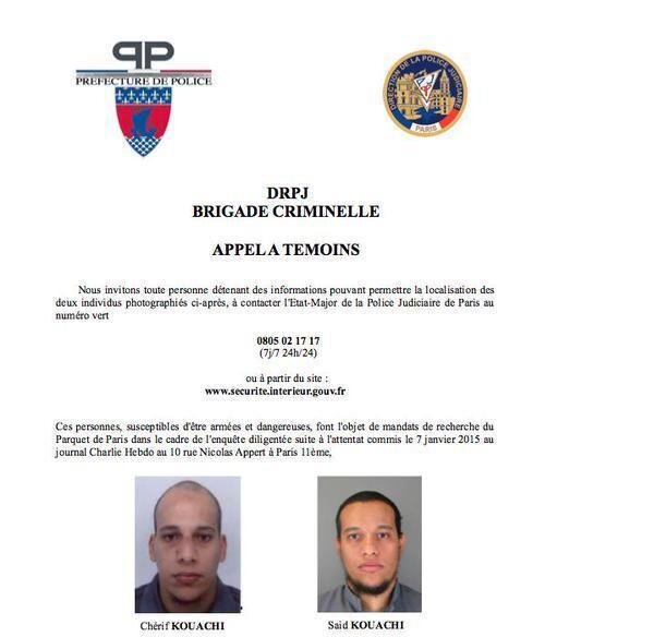 A police bulletin sought the public's help in finding two suspects in the deadly attack on a satirical magazine's Paris offices Wednesday. Pictured are brothers Cherif (left) and Said Kouachi.