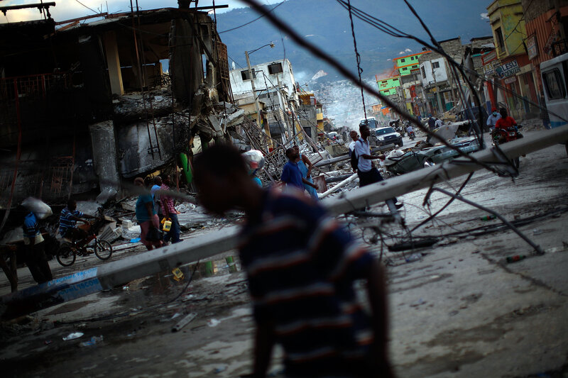 The ruins of downtown Port-au-Prince on Jan. 16, 2010, four days after the earthquake that left the capital destroyed, with thousands dead and hundreds of thousands homeless and living on the streets.