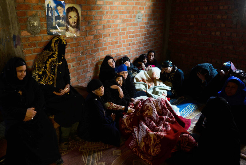 Relatives of Egyptian Coptic Christians purportedly murdered in Libya by self-proclaimed Islamic State militants mourn for those killed.