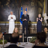 French Foreign Affairs Minister Laurent Fabius (center) hosted the Gout de France dinner at the Palace of Versailles last Thursday. Famed French chef Alain Ducasse (left) helped the government plan the dinner party event, which was staged around the world — part of a concerted French effort to restore its culinary reputation. Versailles President Catherine Pegard is seen at right.