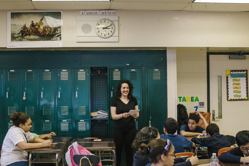 Sexual and reproductive educator Lena Solow teaches students in the Bronx during an after-school class.