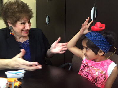 Rehabilitative audiologist Linda Daniel has been working with Jiya since she was a baby.