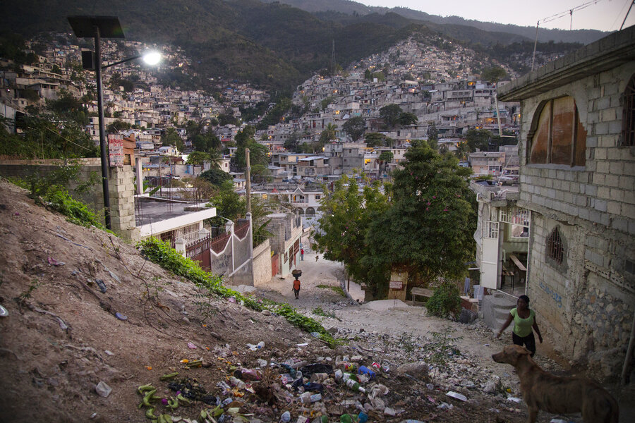 "Evening in Campeche, a neighborhood that sits in the hills of Port-au-Prince. The neighborhood is part of a $24 million project the Red Cross has designated for a ""physical renewal."""