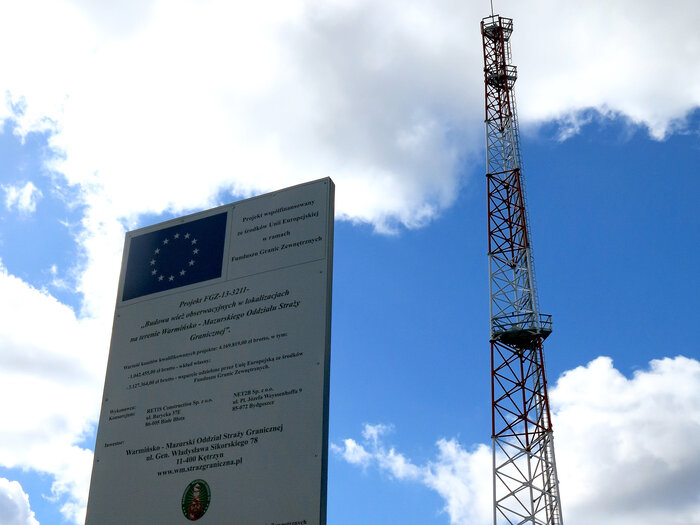 New observation towers, funded by the European Union, have sprouted recently along Poland's border with Russia. This one is located outside the sleepy Polish border village of Parkoszewo.