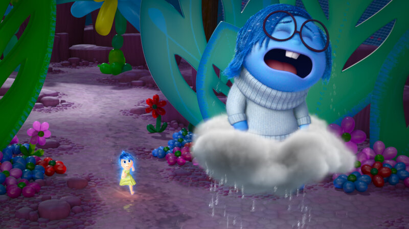 """[Sadness is] such a funny opposite energy to Joy, who is literally jumping up and down,"" Poehler says. ""And Sadness just wants to lie down and kind of feel her feelings."" Poehler plays Joy (left) and Phyllis Smith plays Sadness in the new film Inside Out."
