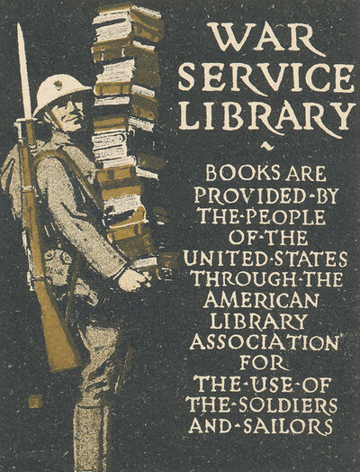 A War Service Library bookplate.