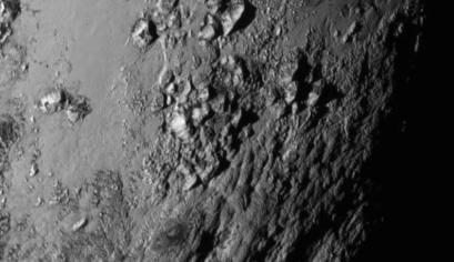 A close-up of a region near Pluto's equator taken by the New Horizons spacecraft.