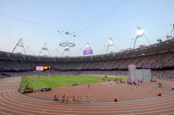 The track at Olympic Stadium during the London 2012 Olympic Games.