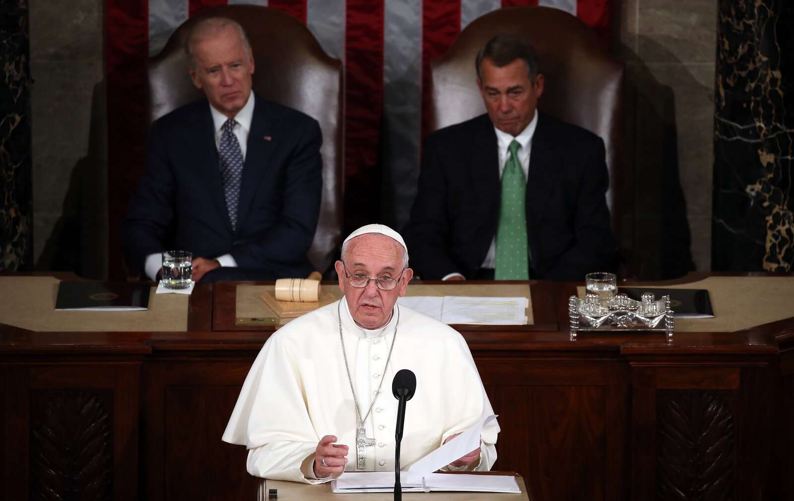 Pope Francis addresses a joint meeting of the U.S. Congress in the House Chamber of the U.S. Capitol Thursday. He is first pope to address a joint meeting of Congress.