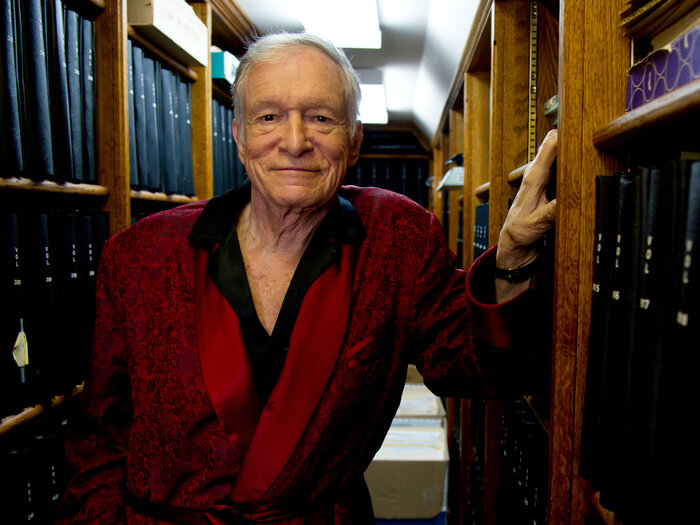 In this Oct. 13, 2011, photo, founder and Chief Creative Officer of Playboy Enterprises Hugh Hefner poses for a photograph at his home at the Playboy Mansion in Beverly Hills.
