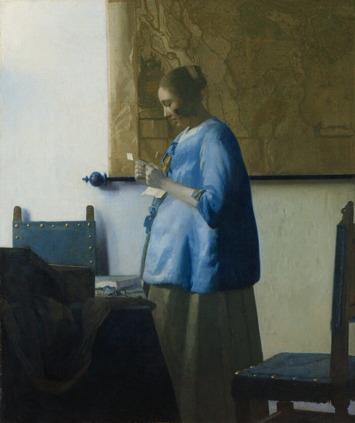 Vermeer's 1663 work, Woman in Blue Reading a Letter, is back on display at the National Gallery after its first visit 20 years ago.