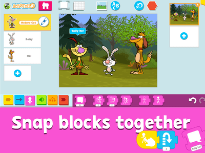 The PBS Kids version of ScratchJr features characters from PBS cartoon shows like Nature Cat.