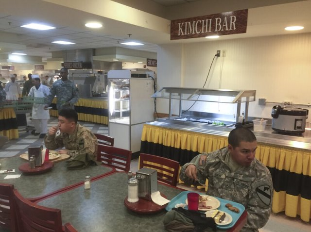 At the Camp Casey dining hall, soldiers have the typical American fare, but can try out Korean food at the Kimchi Bar, where in addition to various kimchis, common Korean snacks like seasoned dried seaweed are served.
