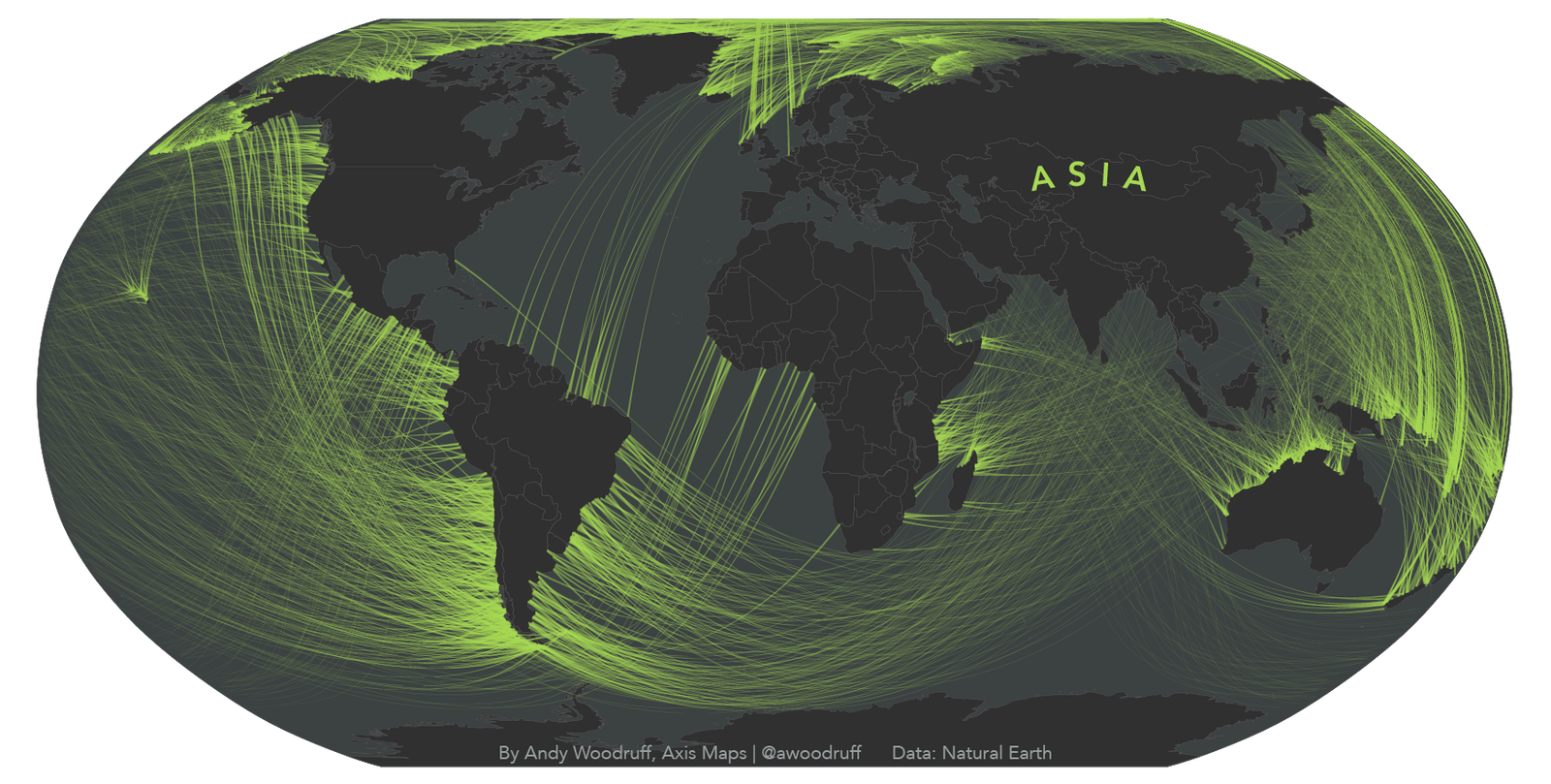 """The bright end of each line is the """"view origin,"""" Woodruff explains, showing where a person would stand on the beach in order to face the continent in question — here, Asia."""