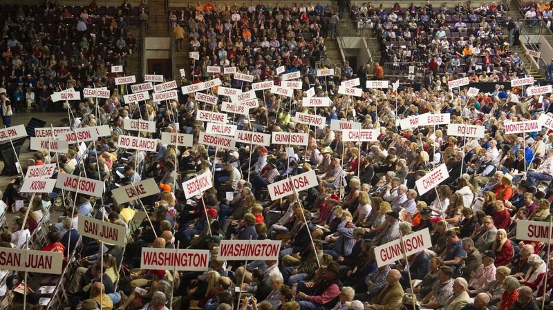 Attendees at the Colorado Republican Convention in Colorado Springs on April 9.