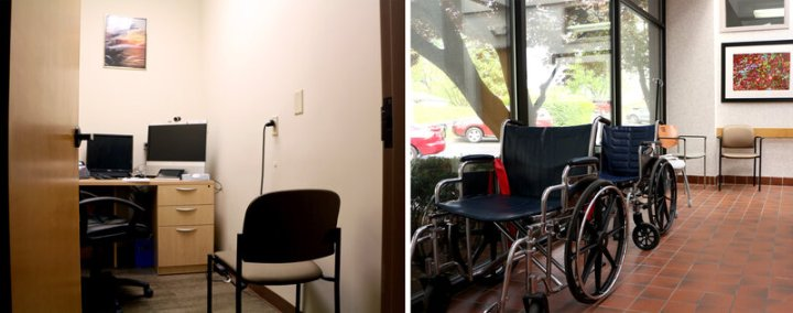 At left, a bathroom has been converted into a telehealth office, where patients can Skype with doctors in other locations. Administrators say the clinic has maxed out on free space. At right, wheelchairs are stored in the front hallway, which doubles as extra waiting space for patients.